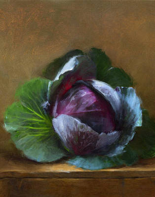 Cabbage Painting - Autumn Cabbage by Robert Papp