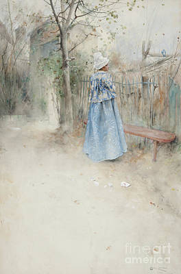 Thoughtful Drawing - Autumn by Carl Larsson