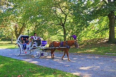 Autumn Carriage Ride Art Print by Allen Beatty