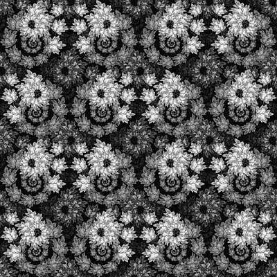Digital Art - Autumn Cascade Black And White by Deborah Runham