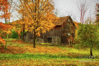 Painting - Autumn Catskill Barn by Deborah Benoit