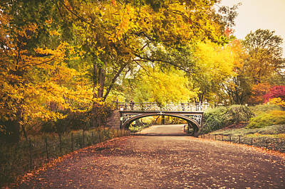 Fall Foliage New York Wall Art - Photograph - Autumn - Central Park Bridge - New York City by Vivienne Gucwa