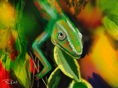 Digital Art - Autumn Chameleon by Diana Riukas