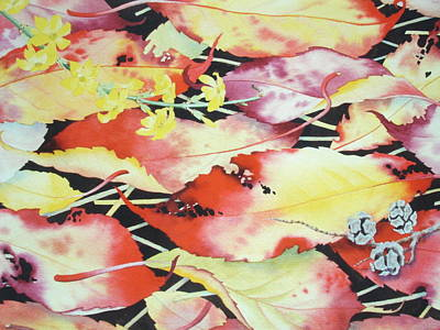 Wet-on-wet-technique Painting - Autumn Cherry Leaves by Lynette Carrington-Smith