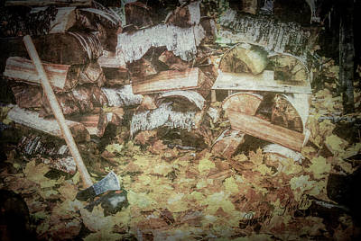 Digital Art - Autumn Chore Firewood Splitting. by Rusty R Smith