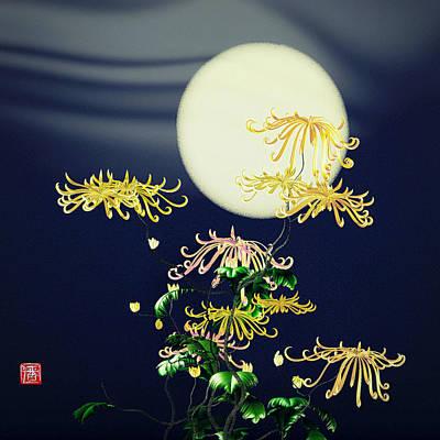 Digital Art - Autumn Chrysanthemums 4 by GuoJun Pan