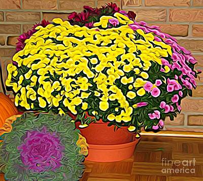 Cabbage Mixed Media - Autumn Chrysanthemums Display Expressionist Effect by Rose Santuci-Sofranko