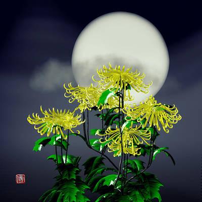 Digital Art - Autumn Chrysanthemums by GuoJun Pan