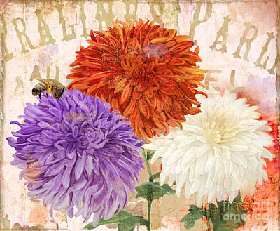 Mums Painting - Autumn Chrysanthemums by Mindy Sommers