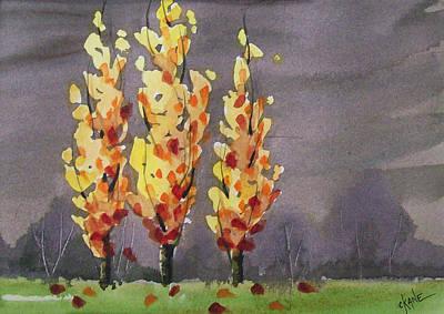 Autumn Cold Rain Art Print by Christine Camp
