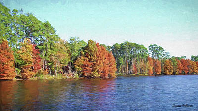 Digital Art - Autumn Color At Ratcliffe Lake by Jayne Wilson