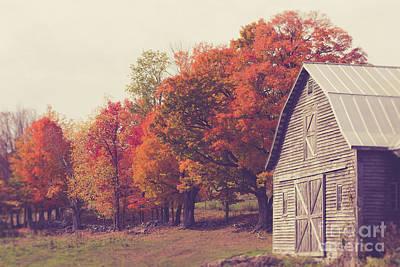 New England Fall Photograph - Autumn Color On The Old Farm by Edward Fielding