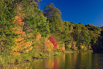 The Beauty Of Nature Photograph - Autumn Color Trees Along Beauty Lake by Panoramic Images