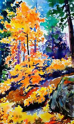 Autumn Colors At Balch Park Art Print by Therese Fowler-Bailey