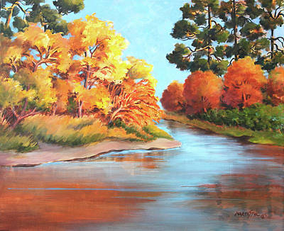 Painting - Autumn Colors Bathing In Sun by Marta Styk