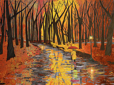 Snowy Painting - Autumn Colors In The Park by Ken Figurski