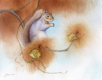 Squirrel Painting - Autumn Come Softly Squirrel by Tracy Herrmann