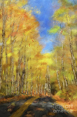 Digital Art - Autumn Country Road by Lois Bryan