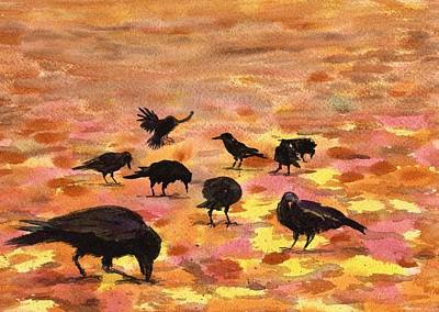 Autumn Crows Art Print by Mimi Boothby