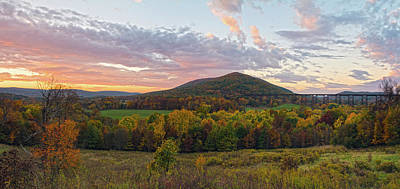 Autumn Dawn At Moodna Viaduct Trestle Panorama  Art Print
