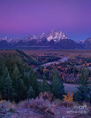 Photograph - Autumn Dawn Snake River Overlook Grand Tetons Nat by Dave Welling