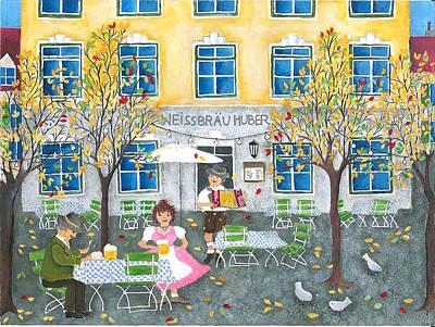 Painting - Autumn Day In The Beergarden by Stefanie Stark