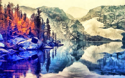 Autumn Day On The Lake. Art Print
