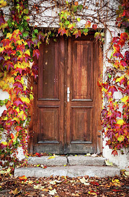 Photograph - Autumn Decoration For Wooden Doorway. Prague by Jenny Rainbow