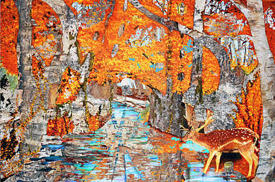 London Central Mixed Media - Autumn Deer Birch Background by Ken Figurski