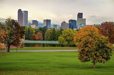 Photograph - Autumn Denver Skyline - Mile High City View by Gregory Ballos