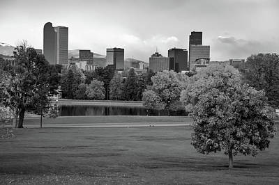 Photograph - Autumn Denver Skyline - Mile High City View In Black And White by Gregory Ballos