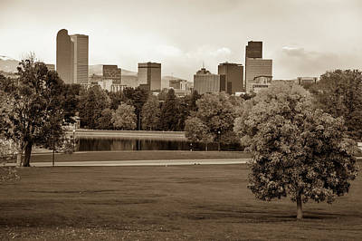 Photograph - Autumn Denver Skyline - Mile High City View In Sepia by Gregory Ballos
