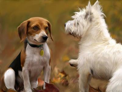Terrier Digital Art - Autumn Dogs by OverbecksFineArt
