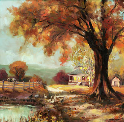 Geese Wall Art - Painting - Autumn Dreams by Steve Henderson