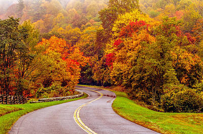 Autumn Drive On The Blue Ridge Art Print by Alex Grichenko