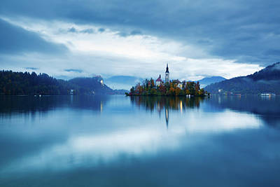 Photograph - Autumn Dusk At Lake Bled by Ian MiddlAutumn colours at Lake Bledeton