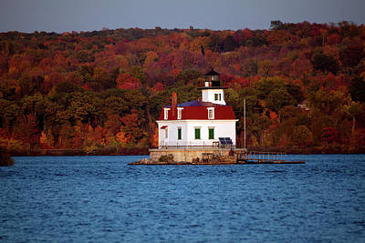 Autumn Evening At Esopus Lighthouse Art Print by Jeff Severson