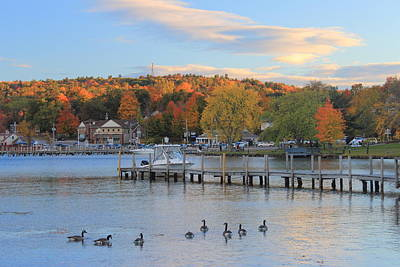 Photograph - Autumn Evening On Lake Winnipesaukee Meredith Waterfront by John Burk