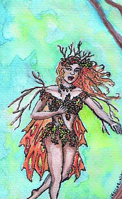 Painting - Autumn Fairy by Janice T Keller-Kimball
