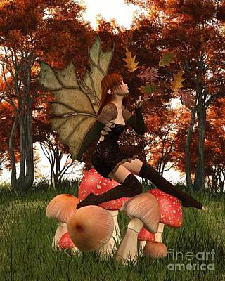 Digital Art - Autumn Fairy With Leafy Wings On An Autumn Woodland Toadstool by Fairy Fantasies