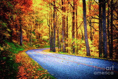 Painting - Autumn Fall Colors - Around The Bend Ap by Dan Carmichael