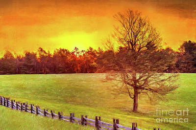 Autumn Fall Colors - Autumn Sunrise Over A Grassy Pasture Ap Art Print