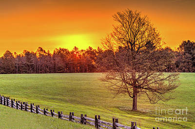 Autumn Fall Colors - Autumn Sunrise Over A Grassy Pasture Art Print