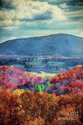 Digital Art - Autumn Fall Colors - Blue Ridge Farm Barn Ap by Dan Carmichael