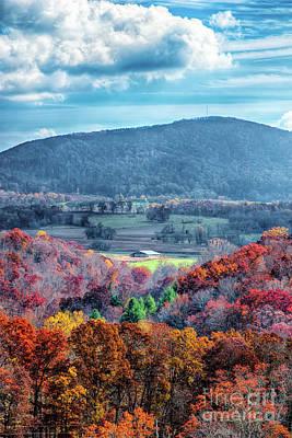 Photograph - Autumn Fall Colors - Blue Ridge Farm Barn by Dan Carmichael
