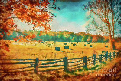 Autumn Fall Colors - Fall Hay Harvest Ap1 Art Print