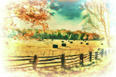 Autumn Fall Colors - Fall Hay Harvest Ap2 Art Print