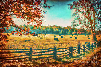 Photograph - Autumn Fall Colors - Fall Hay Harvest by Dan Carmichael