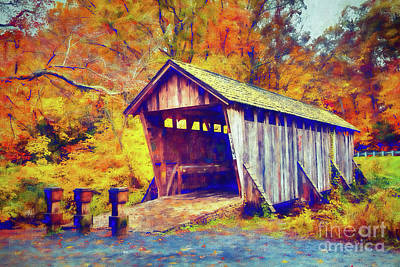 Autumn Fall Colors - Pisgah Covered Bridge Ap Art Print