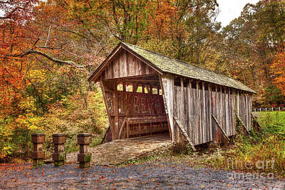 Autumn Fall Colors - Pisgah Covered Bridge Art Print